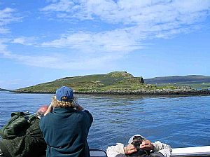 Passing bluebell-smothered Mingay: SWT annual boat trip, May 2008 en route to Isay.